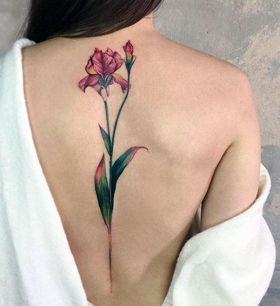 Lovely Floral Plant Tattoo Spine Women