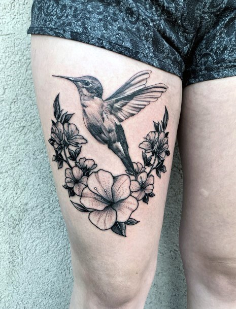 Lovely Flowers And Hummingbird Tattoo Womens Thighs