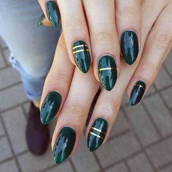 Lovely Golden Art On Green Glossy Nails Women