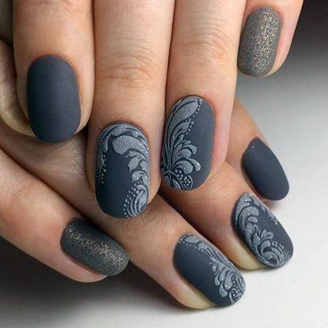 Lovely Grey Sugar Nails Women