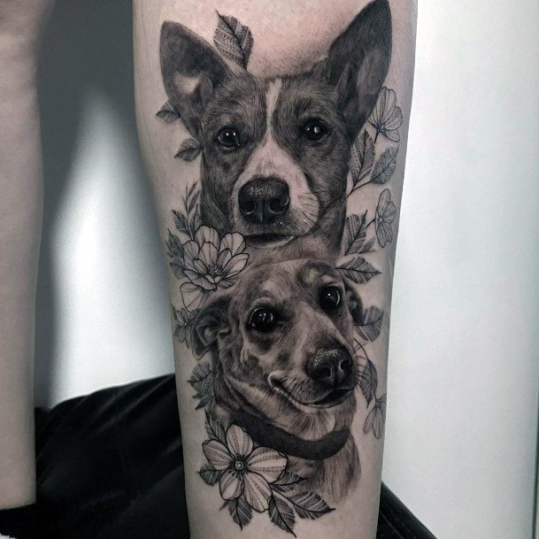 Lovely Grey Tattoo Of Dogs For Women