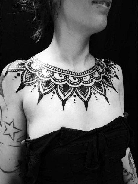 Lovely Neck Piece Tribal Tattoo Women