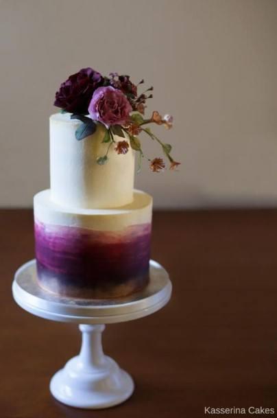 Lovely Purple And White Wedding Cake