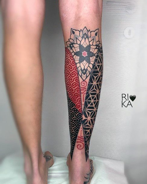 Lovely Red Blue Geometric Art Tattoo Womens Lower Legs