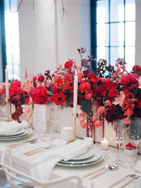 Lovely Red Flowers Wedding Decor