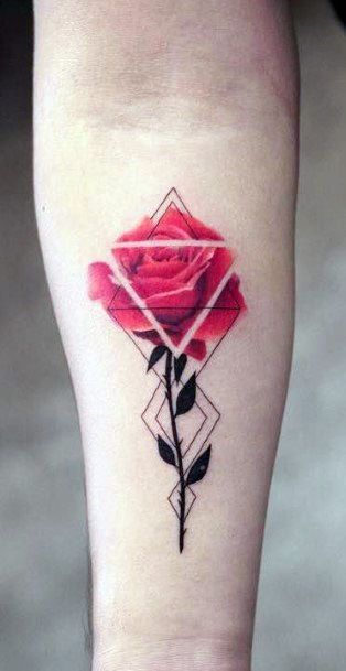 Lovely Red Rose With Stem Geometric Tattoo Women