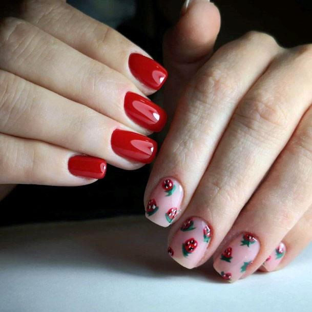 Lovely Sweet Red Pink Short Strawberry Nail Inspiration For Women