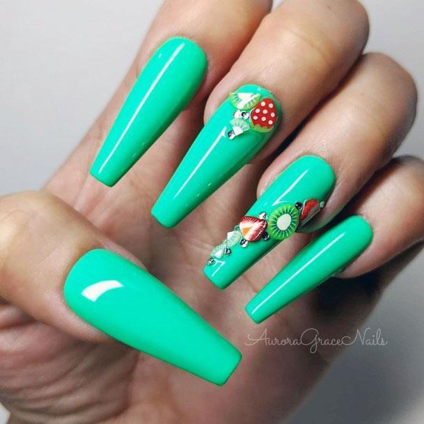 Lovely Terquoise Long Ballerina Strawberry Kiwi Nail Design For Girls