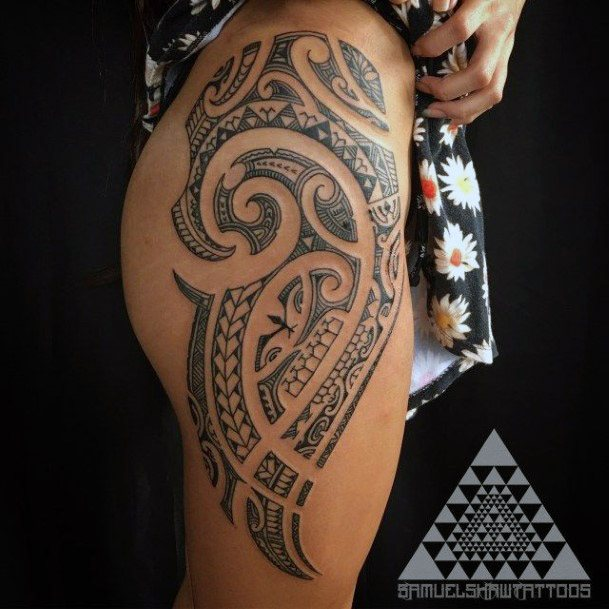 Lovely Tribal Tattoo Womens Thighs