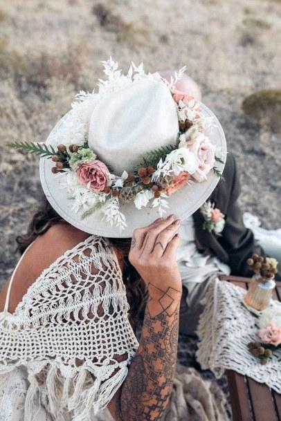 Lovely Wedding Hat Boho Flowers