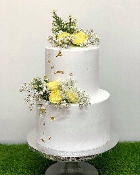 Lovely White 2 Tier Wedding Cake