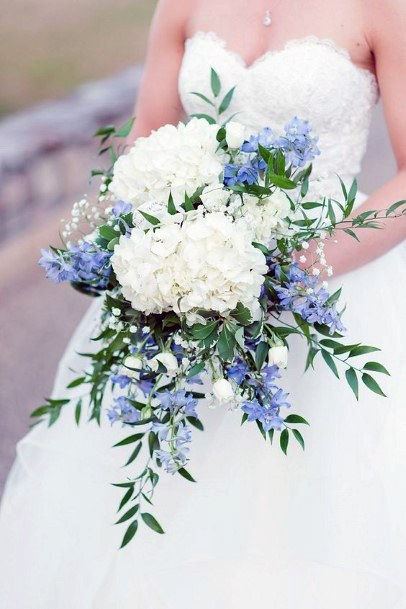 Lovely White And Blue Hydrangea Wedding Flowers