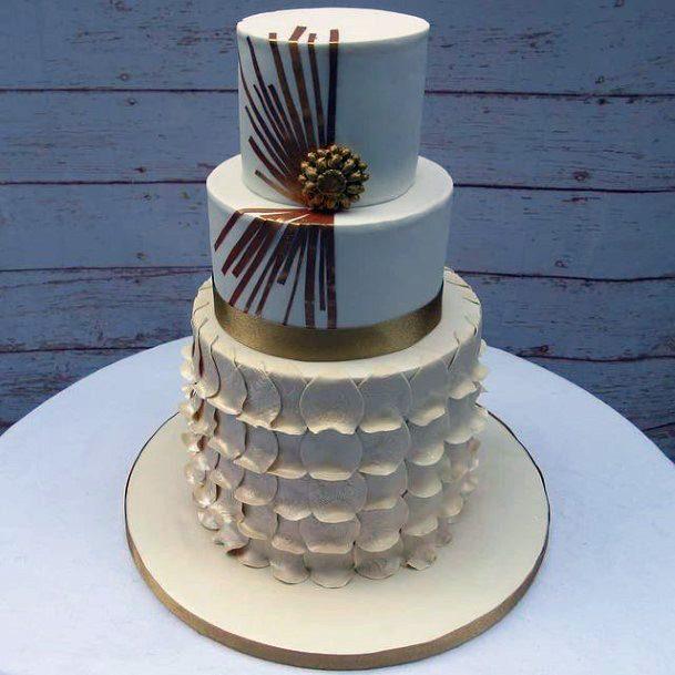 Lovely White And Golden 3 Tier Wedding Cake Women