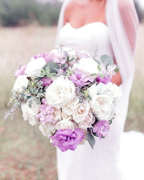 Lovely White And Lavender Roses Bouquet Wedding