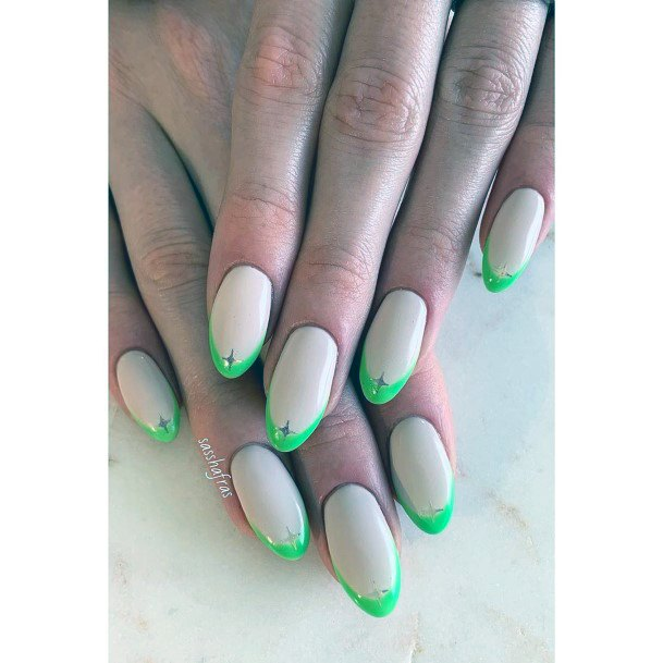 Lovely White And Neon Green Tipped Nail Art With Crystal