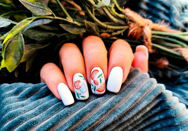 Lovely White April Fruits Nails Women
