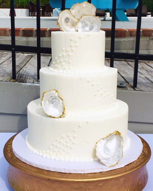 Lovely White Crystals And Beach Wedding Cake Women