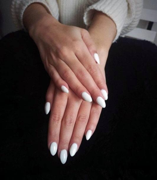 Lovely White Gel Nail Art Women