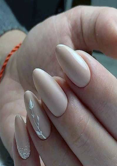 Lovely White Leaf Motif On Nude Nails Female