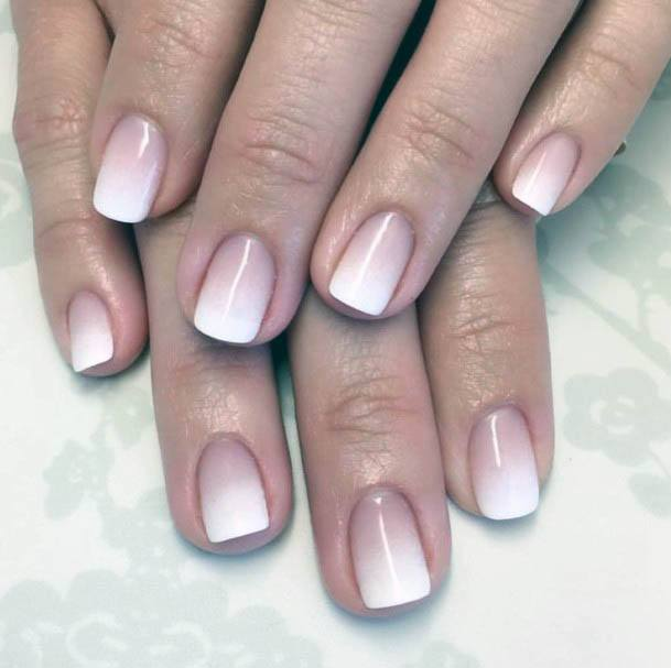 Lovely White Ombre Nails Women