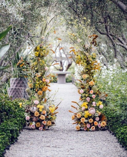 Lovely Yellow Wedding Flowers Arch