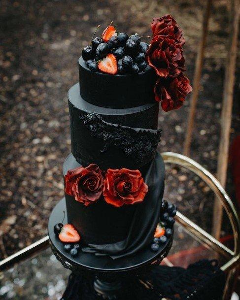Lush Black Halloween Wedding Cake