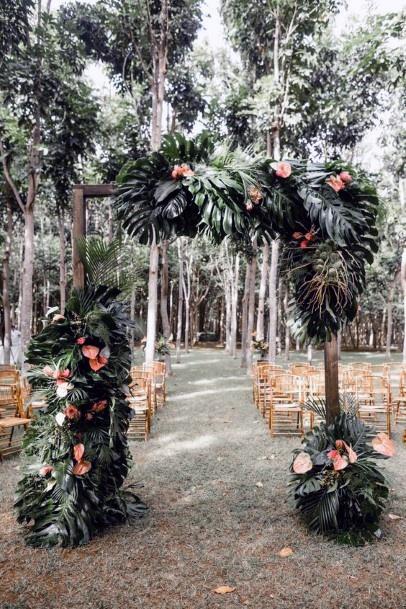 Lush Green Arch Path Hawaiian Wedding Flowers