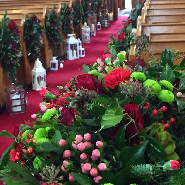 Lush Green Christmas Wedding Flowers