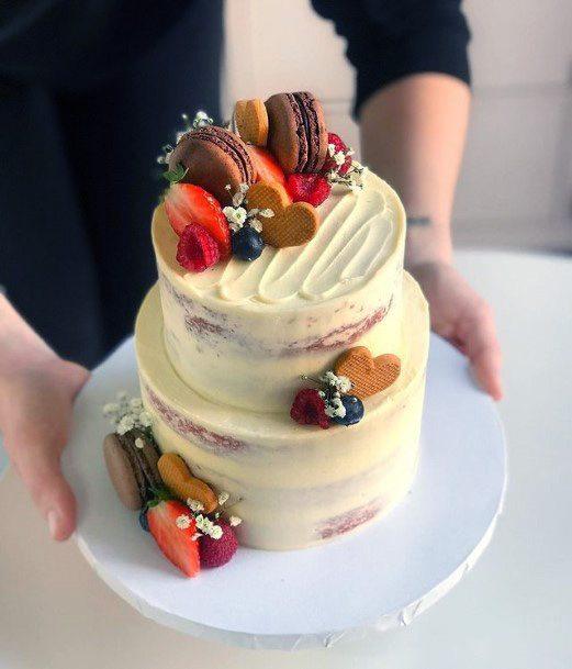 Macarons On Red Velvet Wedding Cake