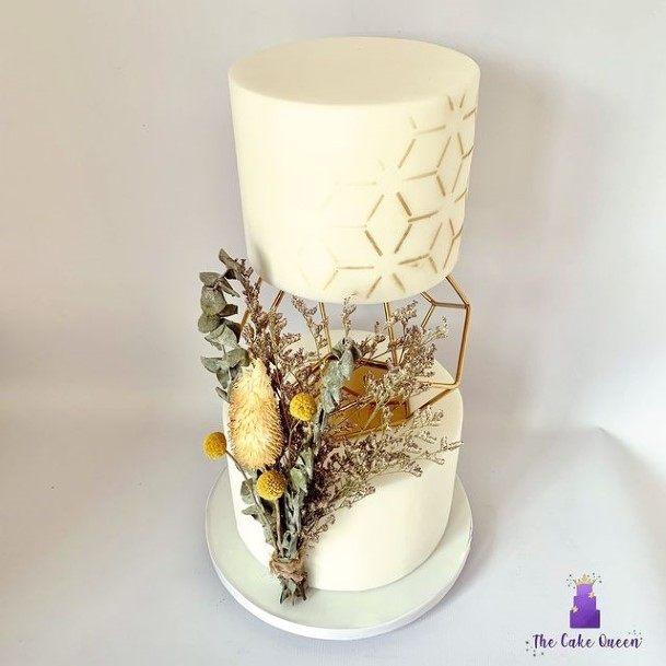 Magical Floating 2 Tier Wedding Cake Geometric