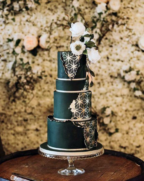 Magical Starlight Unique Black Wedding Cake