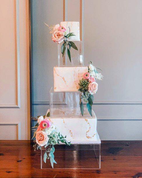 Magical Transparent Square Wedding Cake