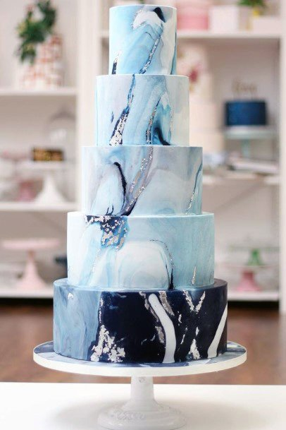 Magical White And Blue Wedding Cake