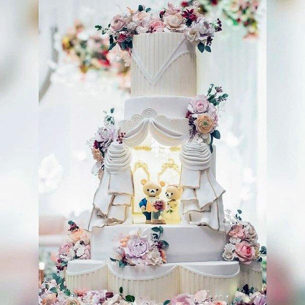 Magical White Unique Wedding Cake