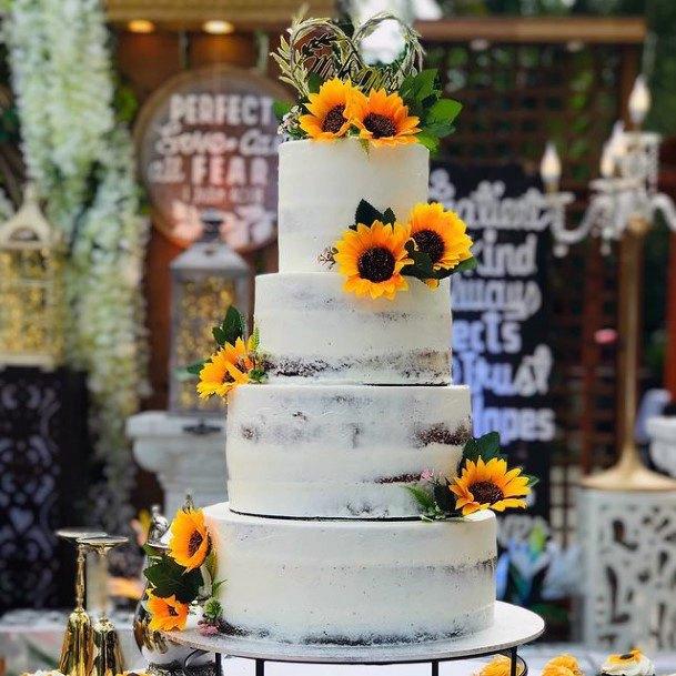 Magnificient Sunflower Womens Wedding Cake