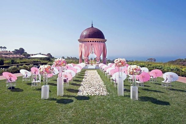 Magnificient Sunny Indian Wedding Pink Flowers Decor Dome