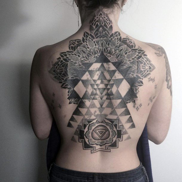 Majestic Geometric Black And Grey Tattoo Womens Back