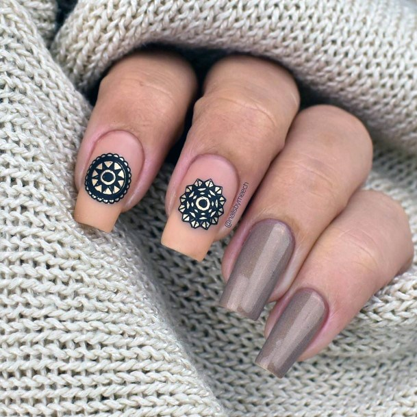 Mandala Art Stamp On Brown Nails Women