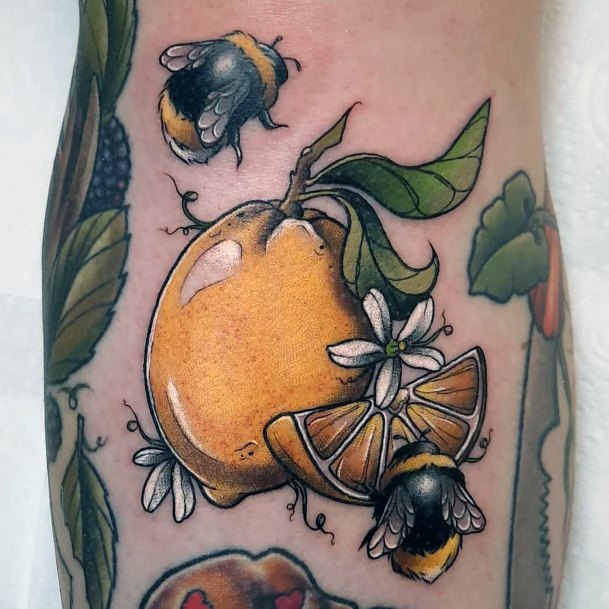 Mango And Bee Tattoo For Women