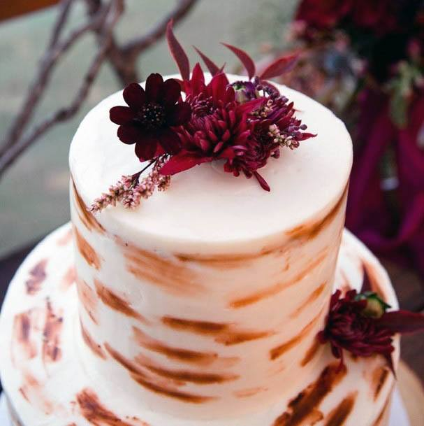 Marble Cake And Carmine Red Flowers Wedding