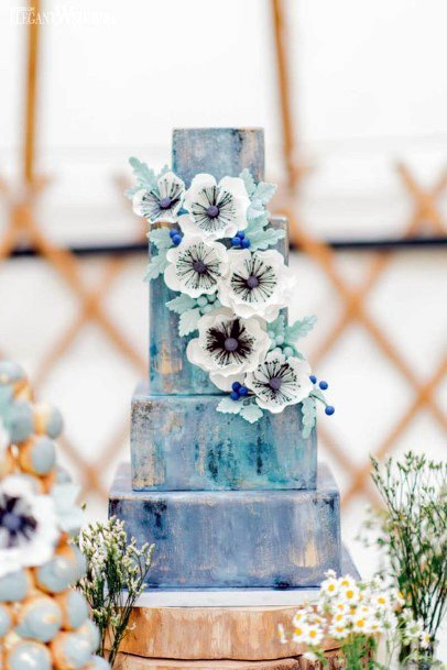 Marble Effect Blue White Wedding Cake