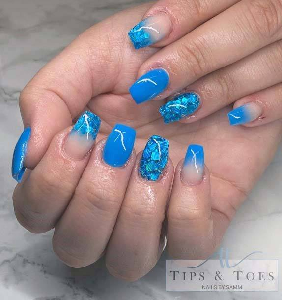Marble Effect Bright Blue Nails For Women