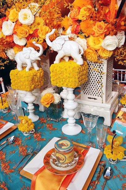 Marble Elephants And Yellow Flowers Indian Wedding