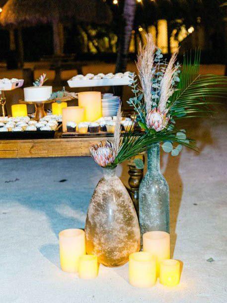Marble Jars And Beach Wedding Flowers