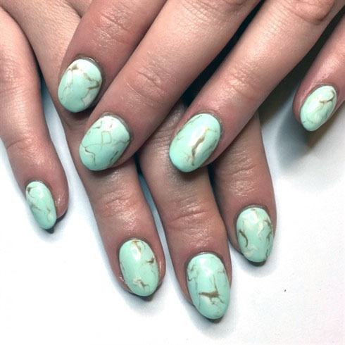 Marble Mint Nails Women