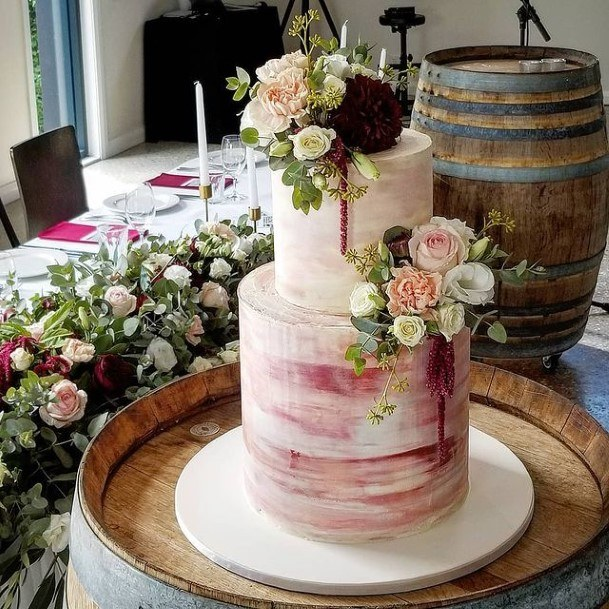 Marble Pink And White Country Wedding Cake