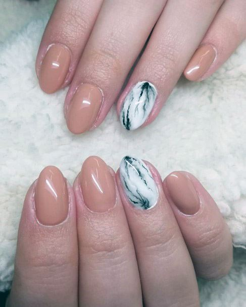 Marble Texture And Nude Nails