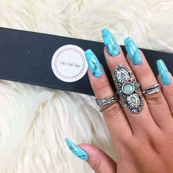Marble Textured Bright Blue Nails For Women
