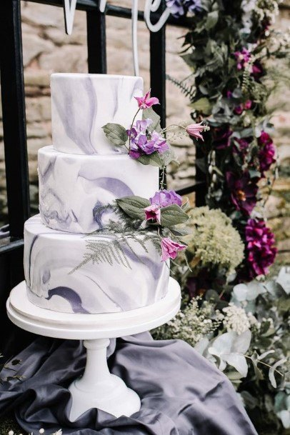 Marble Textured White And Purple Wedding Cake