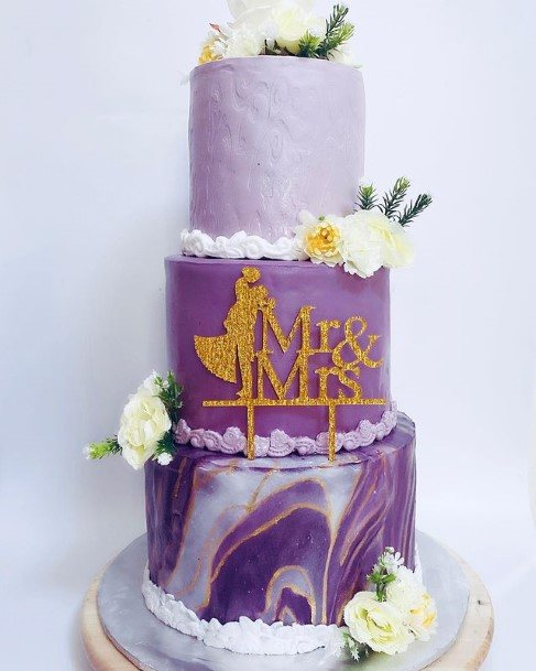 Marble Wedding Cake Purple